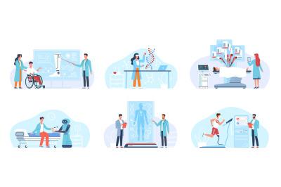 Future surgery technologies. Futuristic healthcare, robotic medicine,