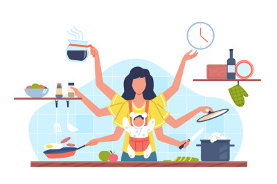 Domestic tasks woman. Multifunctional female character with many hands