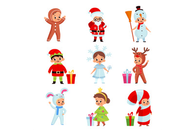 Kids in christmas costumes. Xmas cartoon children, new year holiday ch