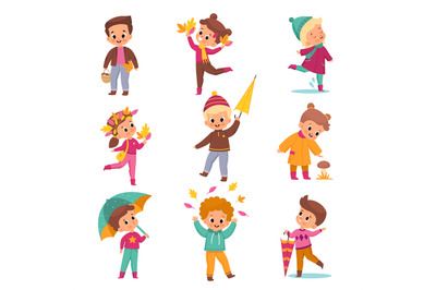 Rainy day children. Kids in warm autumn outdoor clothes, cute boys and