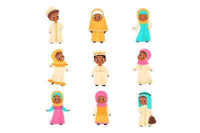 Muslim kids. Arabian children, happy islamic boys and girls in nationa