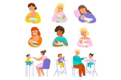 Baby feeding. Parents give kids and newborns food in different ways, m