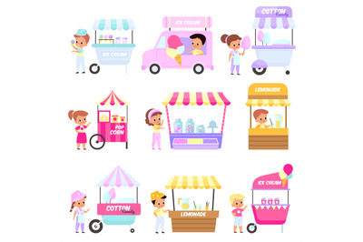 Street market. Happy children sell sweets from trays. Festival food. Y