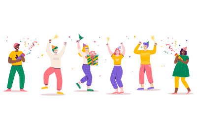 Birthday party people. Holiday attributes, gift and confetti, guys and