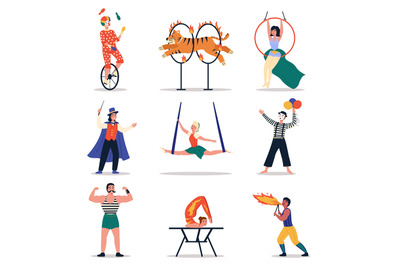 Circus artists. Funny cartoon characters, people in vintage stage cost