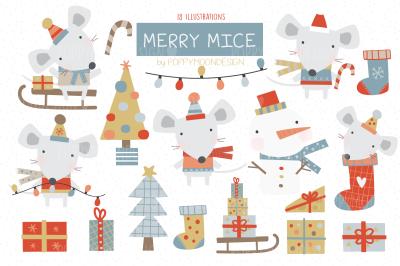 Merry Mice clipart set