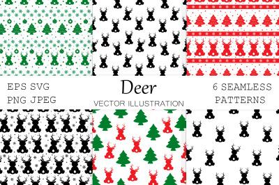 Deer pattern. Deer silhouettes. Deer SVG. Christmas Deer