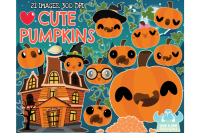 Cute Pumpkins Clipart - Lime and Kiwi Designs