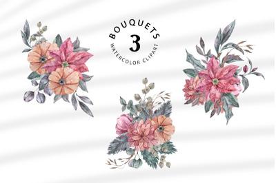 Floral bouquets sublimation / clipart- 3 png files