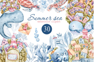 Watercolor nautical sea animals nursery clipart for kids