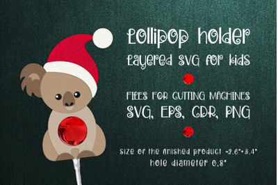 Koala Christmas Lollipop Holder Template SVG