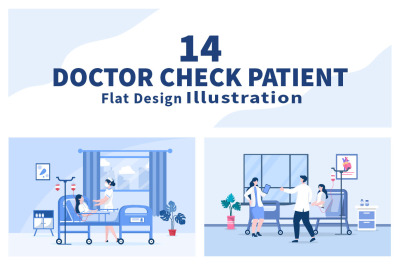 14 Doctor Checking a Patient Medical Treatment Vector Illustration