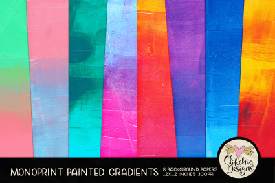 Monoprint Grunge Painted Gradient Background Papers