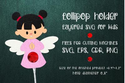 Girl Angel Lollipop Holder Template SVG