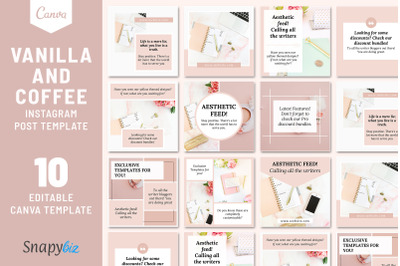 Vanilla And Coffee Instagram Post Template   Canva Instagram Templates