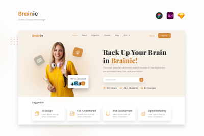 Brainie - Professional Online Course Website Hero