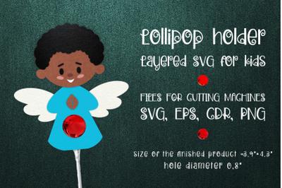 Black Boy Angel Lollipop Holder SVG