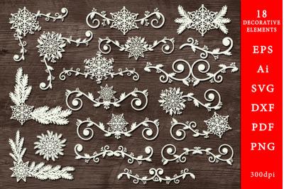 Decorative winter elements. SVG