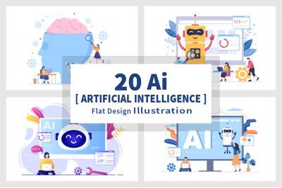 20 Artificial Intelligence Digital Brain Technology Vector Illustratio