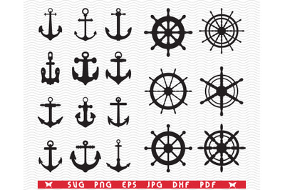 SVG Anchors Rudders, Black silhouettes, Digital clipart