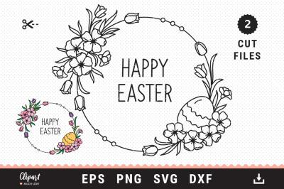 Easter floral wreath svg, Easter circle monogram SVG, DXF