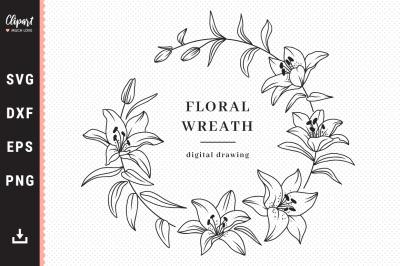 Lily monogram SVG, Floral wreath SVG, Wedding SVG, DXF