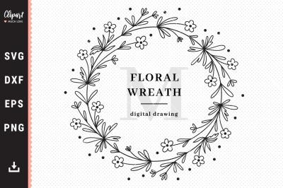 Wildflower monogram SVG, Floral wreath SVG, Floral frame SVG, DXF