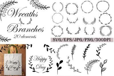 Wreaths & Branches. Christmas. SVG. Frames. Wedding set.