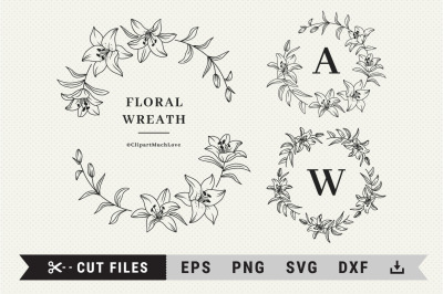 Lily wreath svg, Floral wreath svg, Lily branch wreath monogram