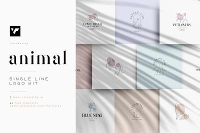 Animal single line logo kit + Fonts