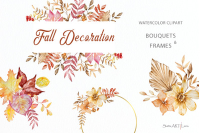 Watercolor Fall Leaves and Flowers Clipart