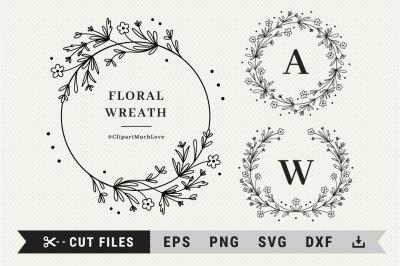 Floral wreath SVG, Wildflower wreath monogram, Floral Frame SVG, DXF