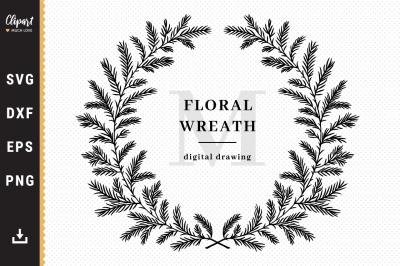 Christmas wreath Svg, Family sign monogram Svg, Winter wreath SVG, DXF