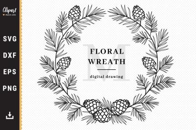 Christmas Wreath SVG, Winter Monogram SVG, Forest wreath SVG, DXF