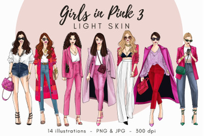 Watercolor Fashion Clipart - Girls in Pink 3 - Light Skin
