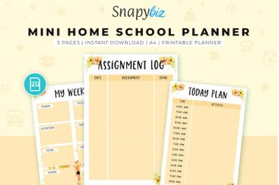Mini Homeschool Planner   Yellow School Planner