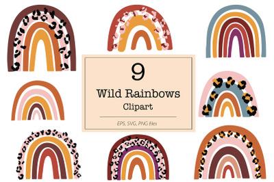 Wild Rainbow SVG Clipart, Leopard Rainbows