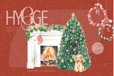 Watercolor hygge clipart, fireplace and snowman clip art, cozy christm
