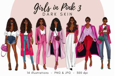 Watercolor Fashion Clipart - Girls in Pink 3 - Dark Skin