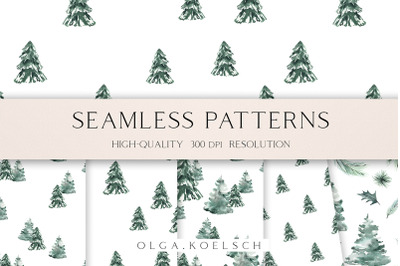 Winter landscape seamless pattern fabric, Watercolor forest seamless