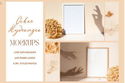 Ocher Hydrangea Frame Mockups and style photos