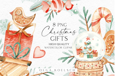 Watercolor Christmas presents clipart, Gift clipart for greeting cards