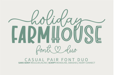 Holiday Farmhouse -A casual pair font duo