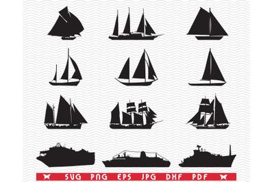 SVG Sailboats Ships, Black silhouettes, Digital clipart
