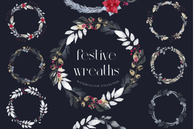 Christmas Wreaths Festive Holiday Collection PNG