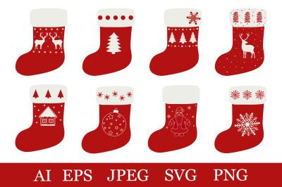 Christmas stocking bundle. Christmas sock. Stocking SVG
