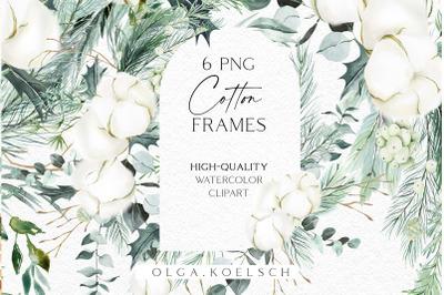 Watercolor cotton clipart, Eucalyptus frames png Border