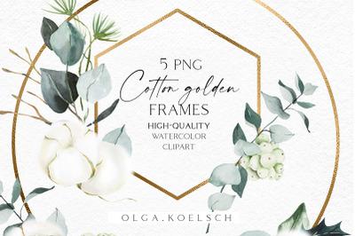 Watercolor cotton frame clip art, Eucalyptus frames png, Floral gold