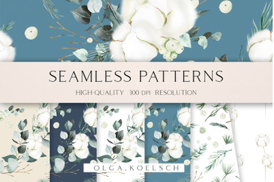 Watercolor cotton seamless pattern fabric, Cotton floral digital paper