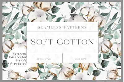 Cotton flowers watercolor digital paper, Eucalyptus seamless pattern